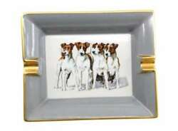 HERMES Porcelain Ashtray Tray Plate Jack Russell Terrier Dogs Animal Ornament