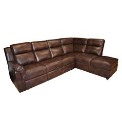 Galaxy Home Xavier Faux Leather L Shape Reclining Sectional In Brown