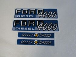 Tractor Hood Decal Set To Fit Ford 4000 Selecto Speed 1115-1586