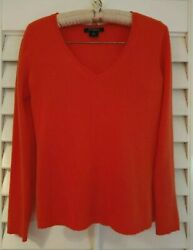 ANN TAYLOR PETITE 100% Cashmere XSP Luxurious VNeck Sweater Lovely Bright Coral!