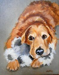 Golden Retriever Art, Large Oil Painting Custom, Your Dog From Your Photos