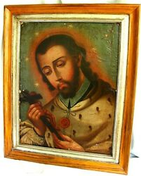 Antique Spanish Colonial Painting Of St John 18th Century