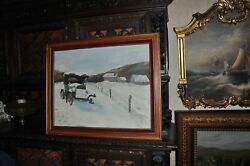 Large Vintage Car And Junk Collectorand039s Dream Painting Oil On Canvas