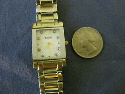 206 Ladys Gold Plate And Stainless Steel Bulova Diamond Watch