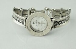 Silpada Sterling Silver Hammered Flower Band Watch T1749 - New Battery - Works