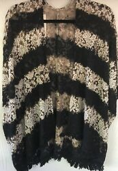 T Party Women#x27;s O S Light Weight Rose Laced Pom Pom Fringe Open Cardigan $25.99