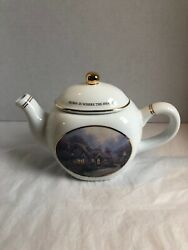 Thomas Kinkade Porcelain Teapot Home Is Where The Heart Is Candlelight Cottage