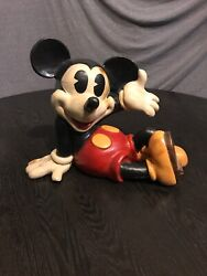 Mickey Mouse Wood Carved Disney Statue 1996 Rare