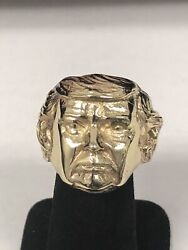 14kt Solid Yellow Gold Donald Trump Ring New Maga Ring President Free Sizing 31g