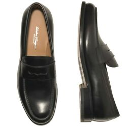 Ferragamo Tramezza Penny Loafers Menand039s Black Leather Formal Dress Shoes Moccasin