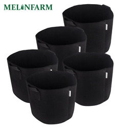 MELONFARM 5-Pack 5 Gallon Plant Grow Bags - Smart Thickened Non-Woven Aeration