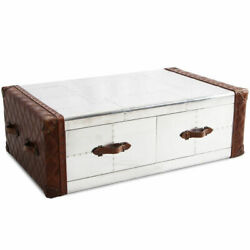 Marquesslife Handmade 100 Genuine Leather Industrial Coffee Table W/drawers