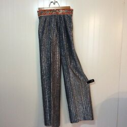 1970's Country Set Silver Metallic Rhinestone Trimmed Trouser Pants
