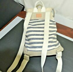 TOMS BACKPACK CANVAS WOVEN BLUE AND CREAM EUC $19.99