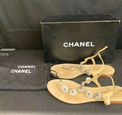CHANEL Leather Camellia Embellished w Silver Flowers Beige Clair Size 377