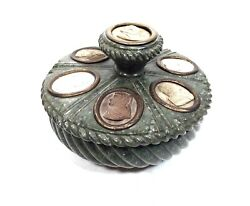 Italian Green Serpentine Marble / Stone Antique Grand Tour Inkwell / Ink Stand