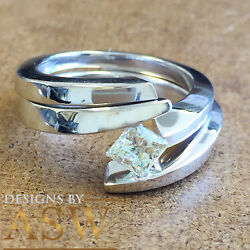 14k White Gold Princess Cut Diamond Engagement Ring And Band Tension Set 0.70t