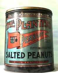 Antique Planters Pennant Peanut Tin Lovely Condition