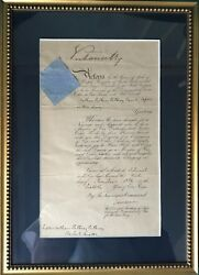 Queen Victoria Signed Distinguished Service Order Document Stopping Slave Trade