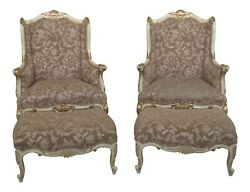 F31223ec/24ec Pair French Louis Xiv Style White Chair And Matching Ottoman