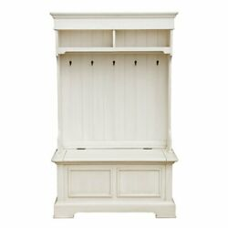 Home Fare Antique White Hall Tree With Storage