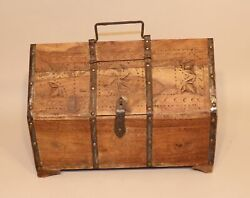 Antique Hand Carved Asian Indian Dowry Chest Wooden Wood Box With Handle