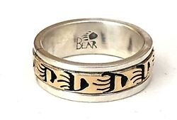SIGNED RHODA JACK NAVAJO SOLID 14K YELLOW GOLD & STERLING SILVER RING