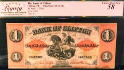 Canada Chartered Banknote .bank Of Clifton 1 1861 Charlton 125-12-06