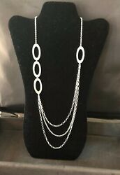 """New Silpada 32"""" Oval Link Hammered Sterling Silver Necklace -lobster Clasp N1720"""