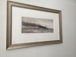 William L Wyllie 'hms Champion And The 13th Flotilla' Drypoint Etching.