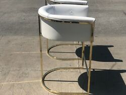 SET OF 5 Calvin Leather Barstools WHITE Leather & Brass or Antique Brass