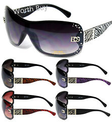 New Women Rhinestones Wrap Shield Sunglasses Designer Fashion Shades Zebra Print $9.99