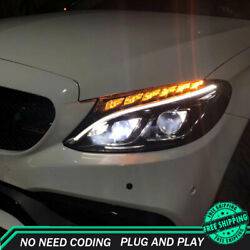 For Benz C-class W205 Headlights 15-18 Full Led Projector Led Drl Turn Signal