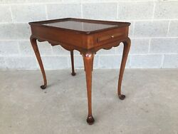 Vintage High Quality Solid Mahogany Queen Anne Style Tea Table