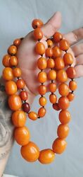 Antique Tibetian Amber beads Yolk Butterscotch  Beads Necklace  Rosary 156 gr