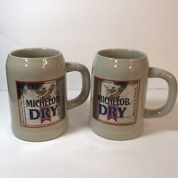 Michelob Dry Beer Mug Stein Made West Germany Lot Of 2