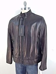 Menand039s Andrew Marc Black Menand039s And039windsorand039 Lambskin Leather Racer Size M