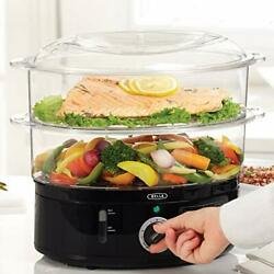 Auto Shutoff 2 Tier Stackable Food Steamer With Steaming Tray - 7.4 Quart