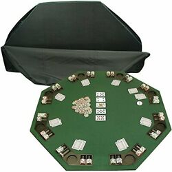 Durable Folding 8 Player Position Poker Table Top W/ Poker Chip Trays - Deluxe