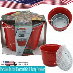 Coleman Portable Red Bucket Charcoal Grill Party Outdoor Cooker BBQ Backyard NEW $28.39