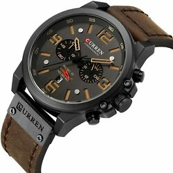 CURREN Military Men#x27;s Watch Sport Chronograph Leather Infantry Reloj Para Hombre