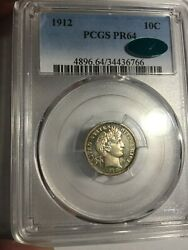 1912 Barber Dime Pcgs Pr 64 Pf 64 Cac. Toned. Only 700 Minted. Cac Quality.
