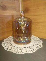 Vintage Blue-hued Indiana Glass Harvest Grapes Carnival Glass Candy Dish W/lid