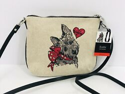 Brighton Scottie Crossbody Over Shoulder Red Black Grey Dog Hearts Liner $21.99