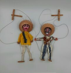 Vintage Marionette Puppets Mexico Mexican Banditos Hat String Dolls Lot Of Two