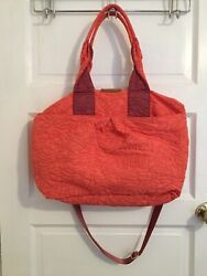 Anthropologie Nylon Twist Bi color Coral Quilted Soft Crossbody Bag $88 Retail $44.00