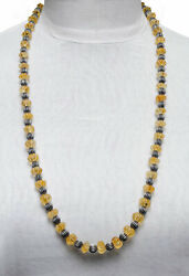 Citrine Gemstone Melon Shape Bead Necklace With Silver Element Ns1720