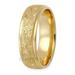14k Yellow Gold Hand Engraved Mens Wedding Bands Hand Engraved Wedding Rings