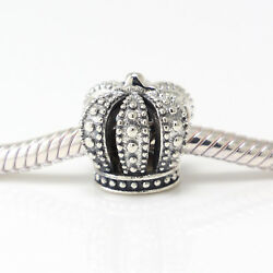 925 ALE Sterling Silver New Authentic Pandora Charms Crown Bracelet Charm Bead