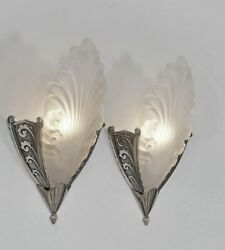 Mouynet Pair Of 1930 French Art Deco Wall Sconces Lights Lamp 1925 Muller Era